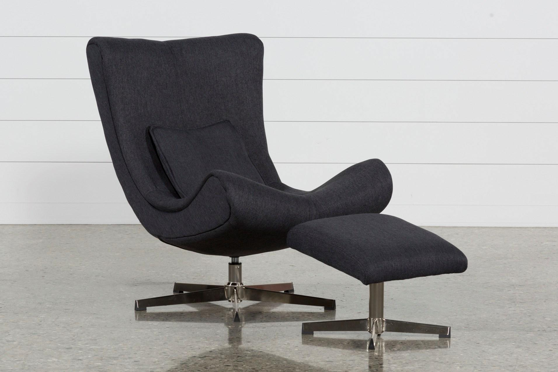 Featured Image of Amala Dark Grey Leather Reclining Swivel Chairs