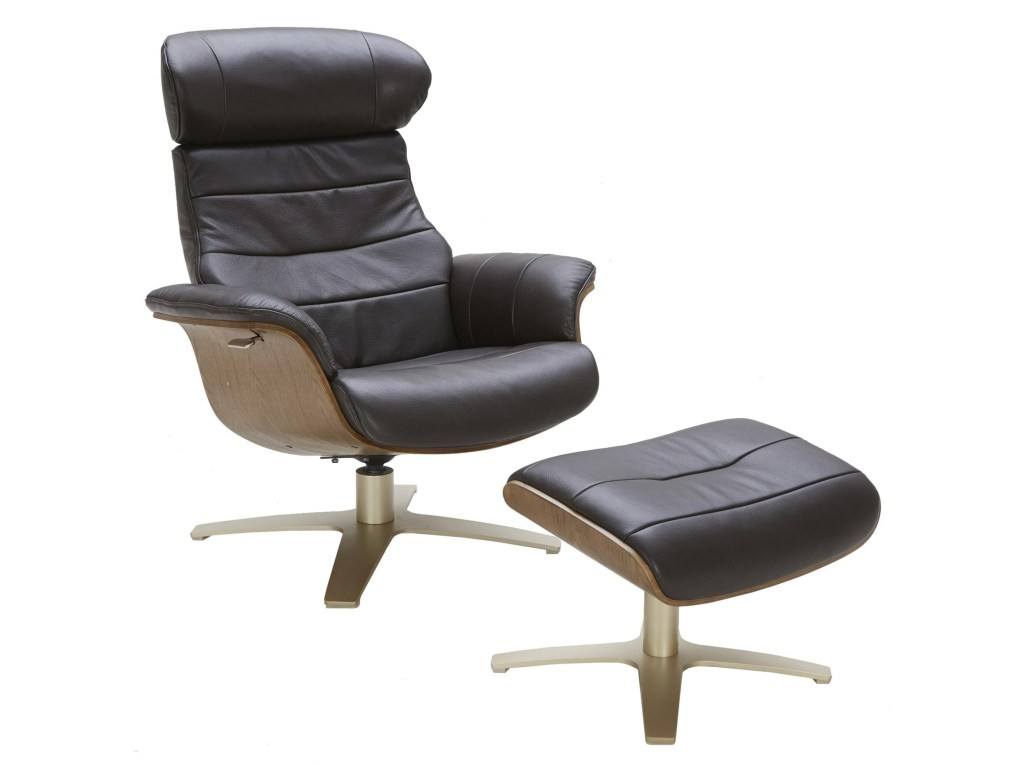 Amala Dark Grey Leather Reclining Swivel Chair Ottoman Living Spaces With Amala White Leather Reclining Swivel Chairs (View 15 of 25)