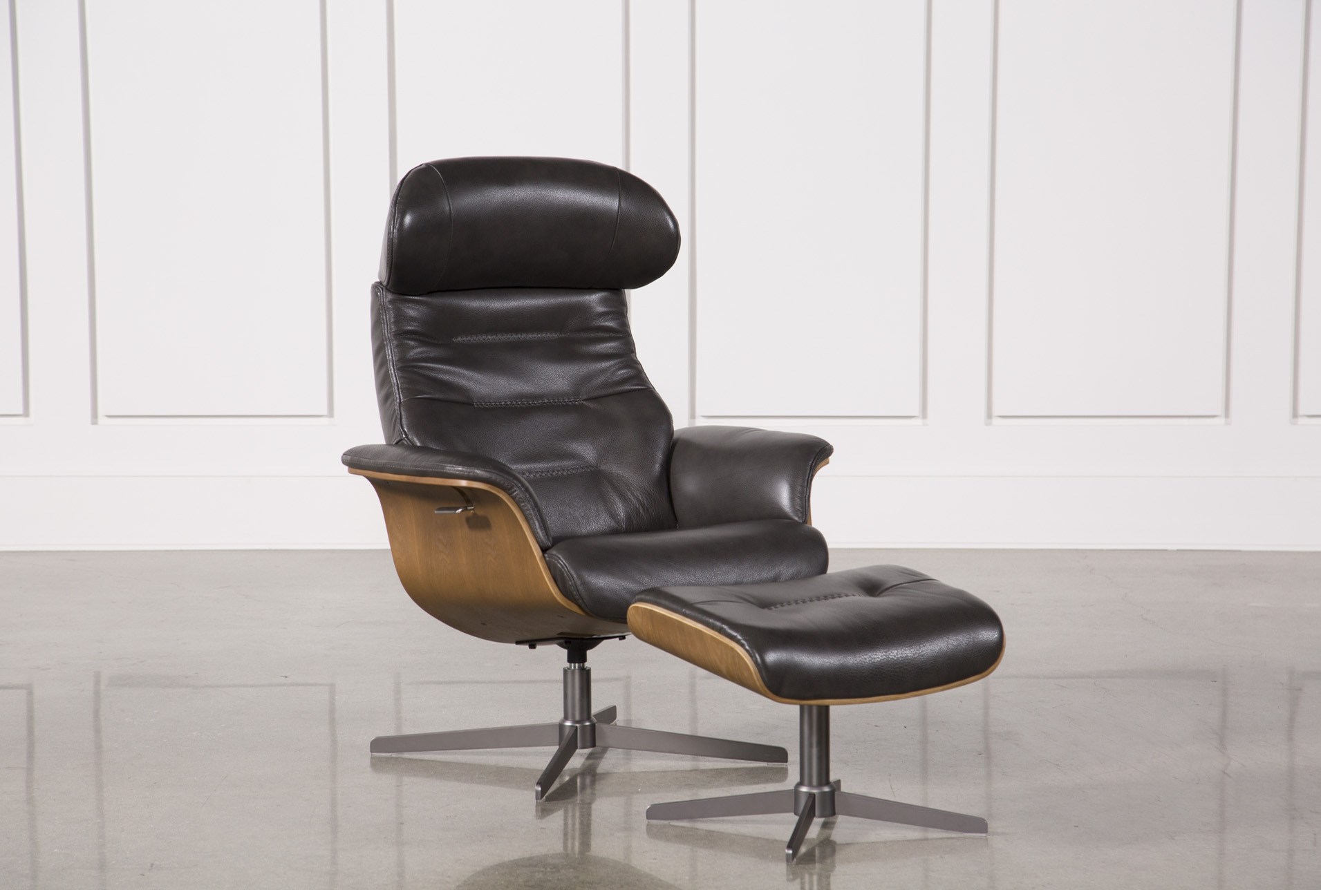 Amala Dark Grey Leather Reclining Swivel Chair & Ottoman | Products Pertaining To Twirl Swivel Accent Chairs (Image 3 of 25)