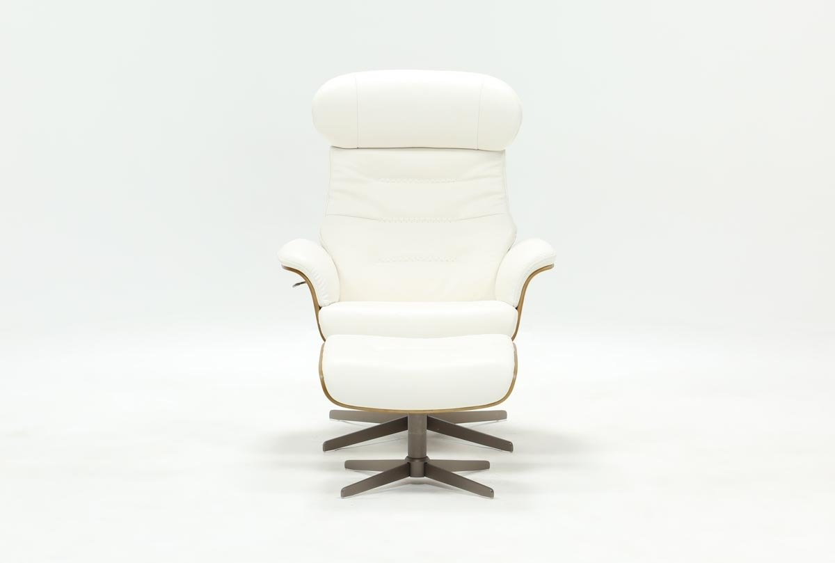 Amala White Leather Chair & Ottoman | Living Spaces With Regard To Amala Dark Grey Leather Reclining Swivel Chairs (Image 9 of 25)