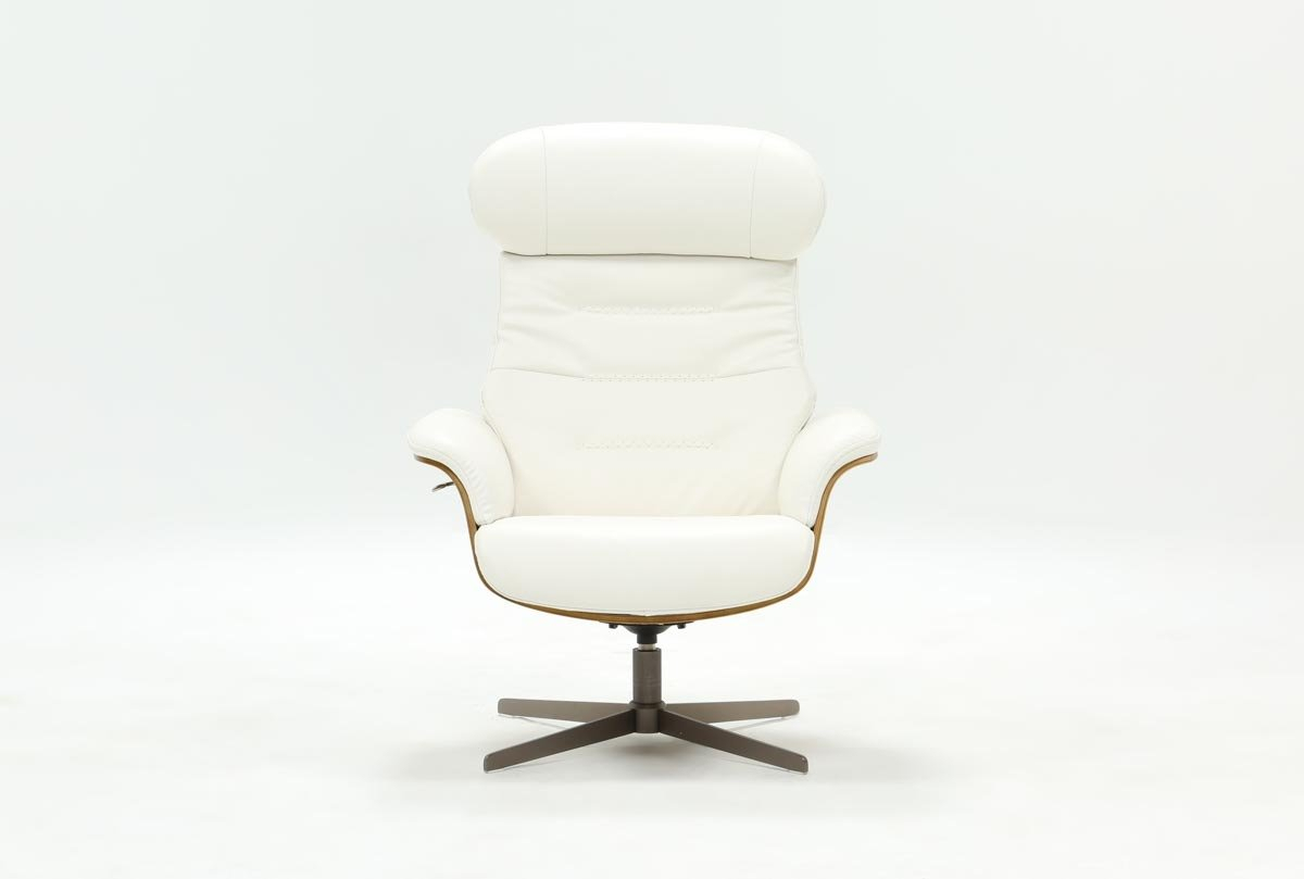 Amala White Leather Reclining Swivel Chair | Living Spaces With Regard To Amala Dark Grey Leather Reclining Swivel Chairs (Image 10 of 25)