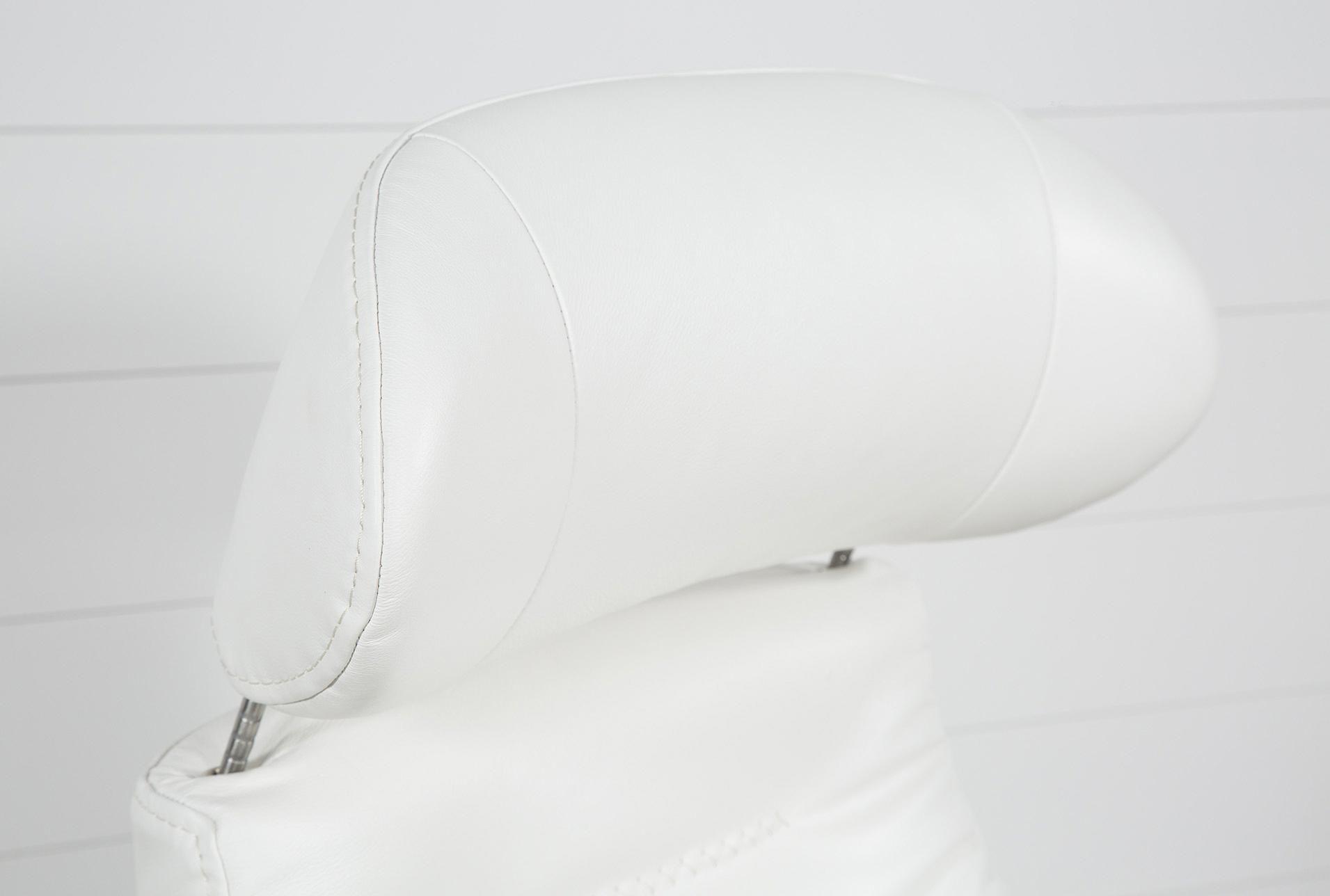 Amala White Leather Reclining Swivel Chair #whiteleatherchair With Regard To Amala White Leather Reclining Swivel Chairs (View 4 of 25)