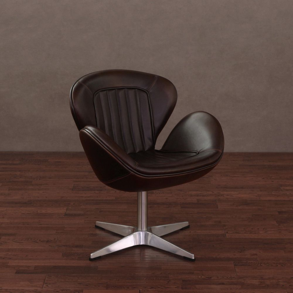 Amelia Vintage Tobacco Leather Swivel Chair (Tobacco Leather Swivel intended for Swivel Tobacco Leather Chairs
