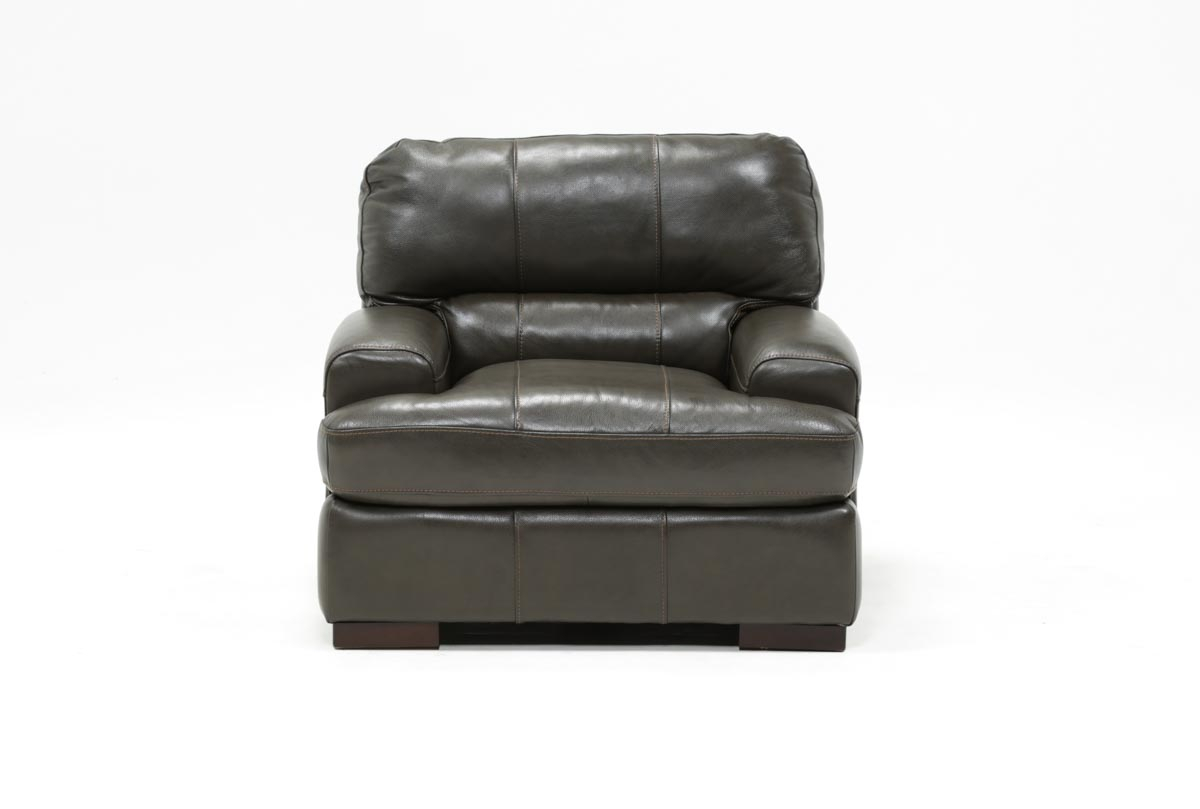 Andrew Leather Chair | Living Spaces With Regard To Gina Grey Leather Sofa Chairs (Image 1 of 25)