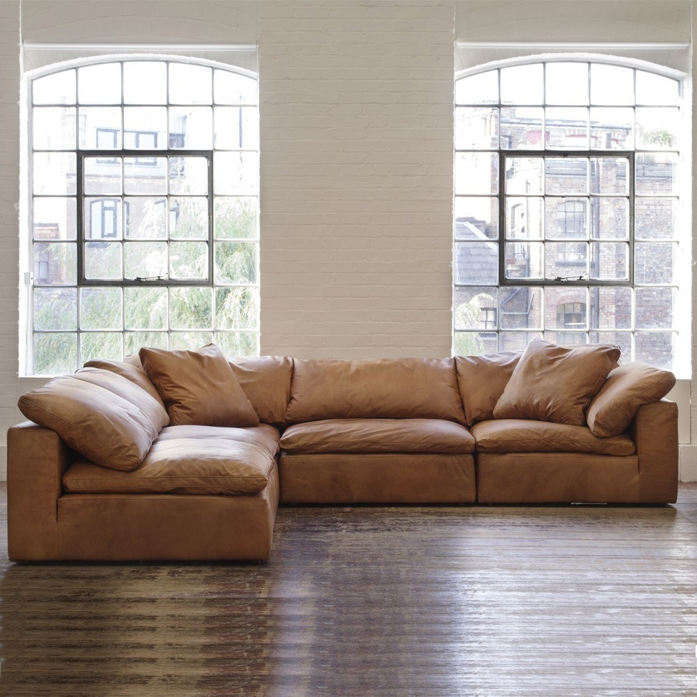 Andrew Martin Truman Sectional Sofa – Tan Leather | Moduler Sofa With Regard To Andrew Leather Sofa Chairs (Image 12 of 25)
