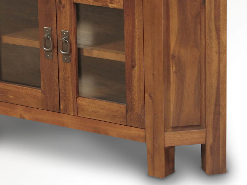 Annaghmore Roscrea Acacia Wooden Corner Tv Cabinet With Glass Doors Within Best And Newest Corner Tv Cabinets With Glass Doors (Image 8 of 25)