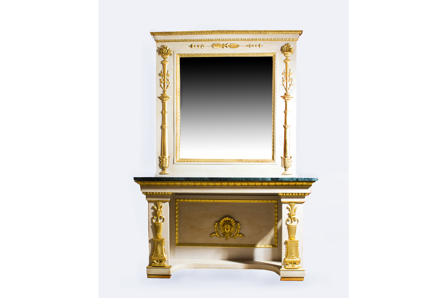 Antique Roman Console Table With Mirror & Marble Top (Image 5 of 25)