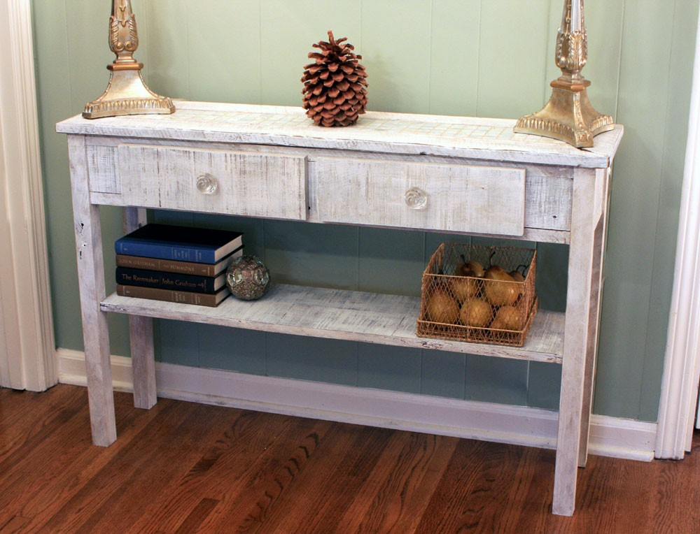 Antique White Entryway Table : How To Make Fog White Entryway Table With Regard To Well Known Antique White Distressed Console Tables (Image 3 of 25)