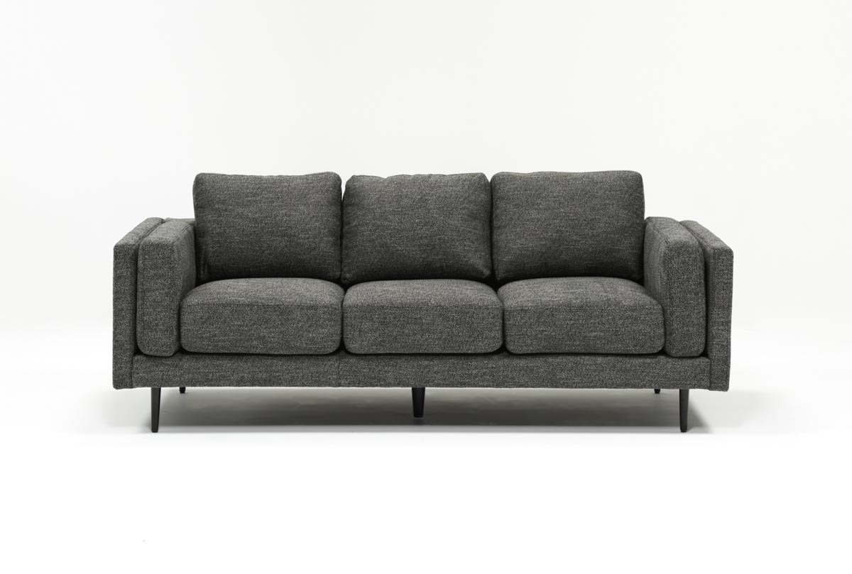 Aquarius Dark Grey Sofa | Living Spaces Pertaining To Caressa Leather Dark Grey Sofa Chairs (Image 3 of 25)