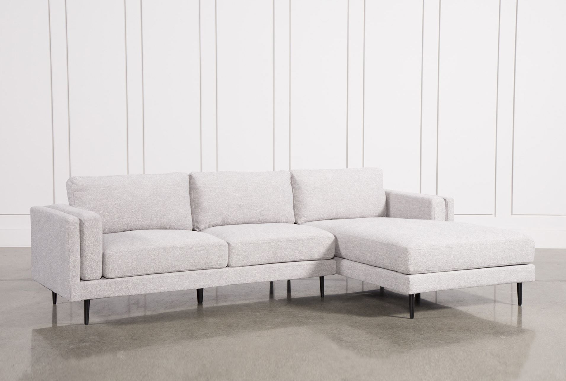 Aquarius Light Grey 2 Piece Sectional W/raf Chaise | Products Within Caressa Leather Dove Grey Sofa Chairs (Image 1 of 25)
