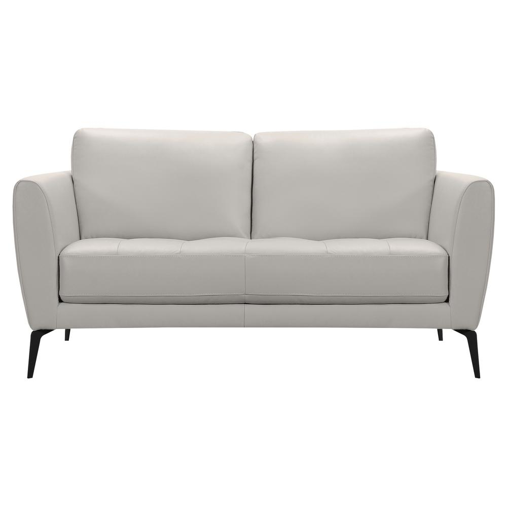 Armen Living Armen Living Hope Genuine Dove Grey Leather With Caressa Leather Dove Grey Sofa Chairs (Image 2 of 25)