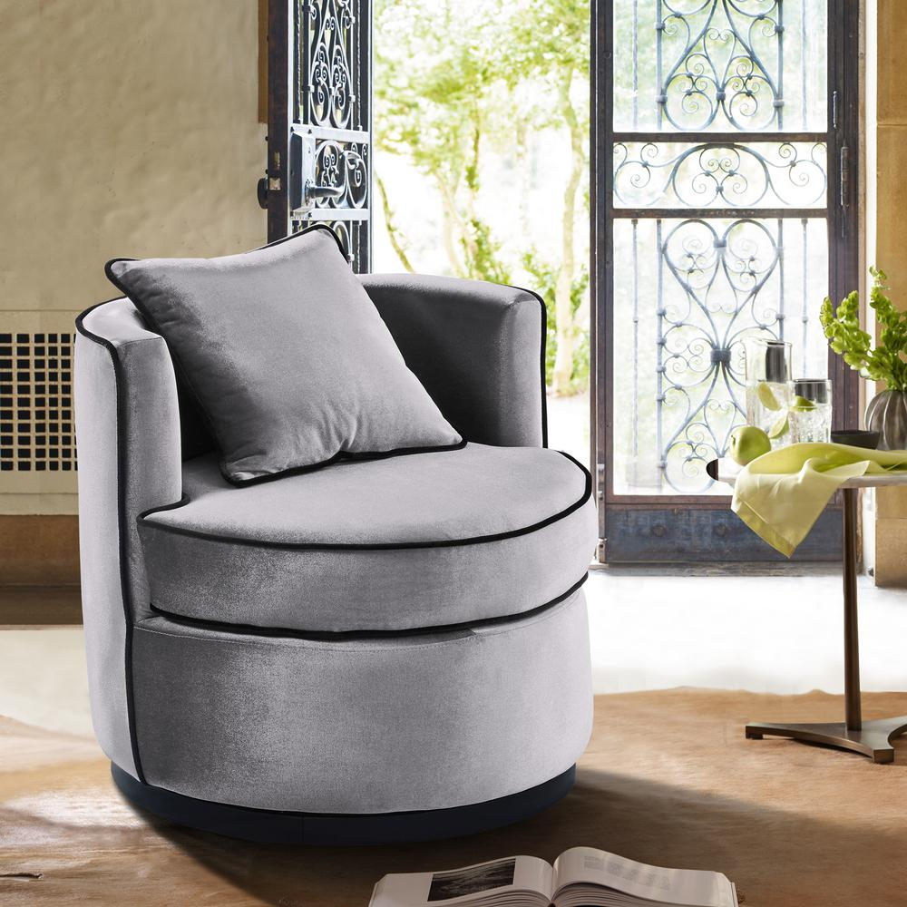 Armen Living Truly Grey Velvet And Black Velvet Piping Contemporary Pertaining To Katrina Blue Swivel Glider Chairs (View 6 of 25)