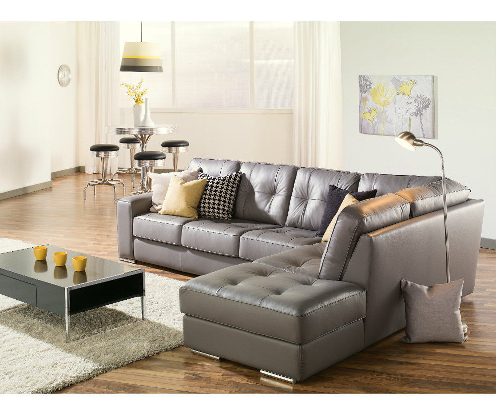 Artem Sofa 902511 Rs Grey Leather Sectional Need Lhf | Living Room Regarding Gina Grey Leather Sofa Chairs (Image 2 of 25)
