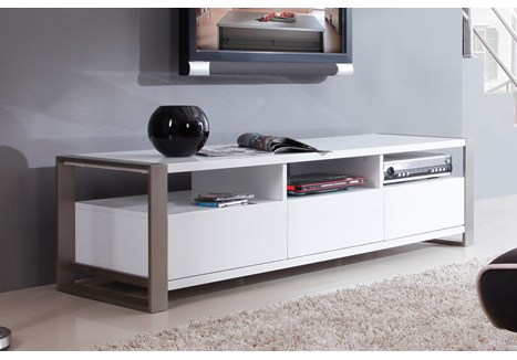 """B Modern Stylist 63"""" High Gloss White Tv Stand – Bm 110 Wht Pertaining To Most Up To Date Cheap White Tv Stands (Image 2 of 25)"""