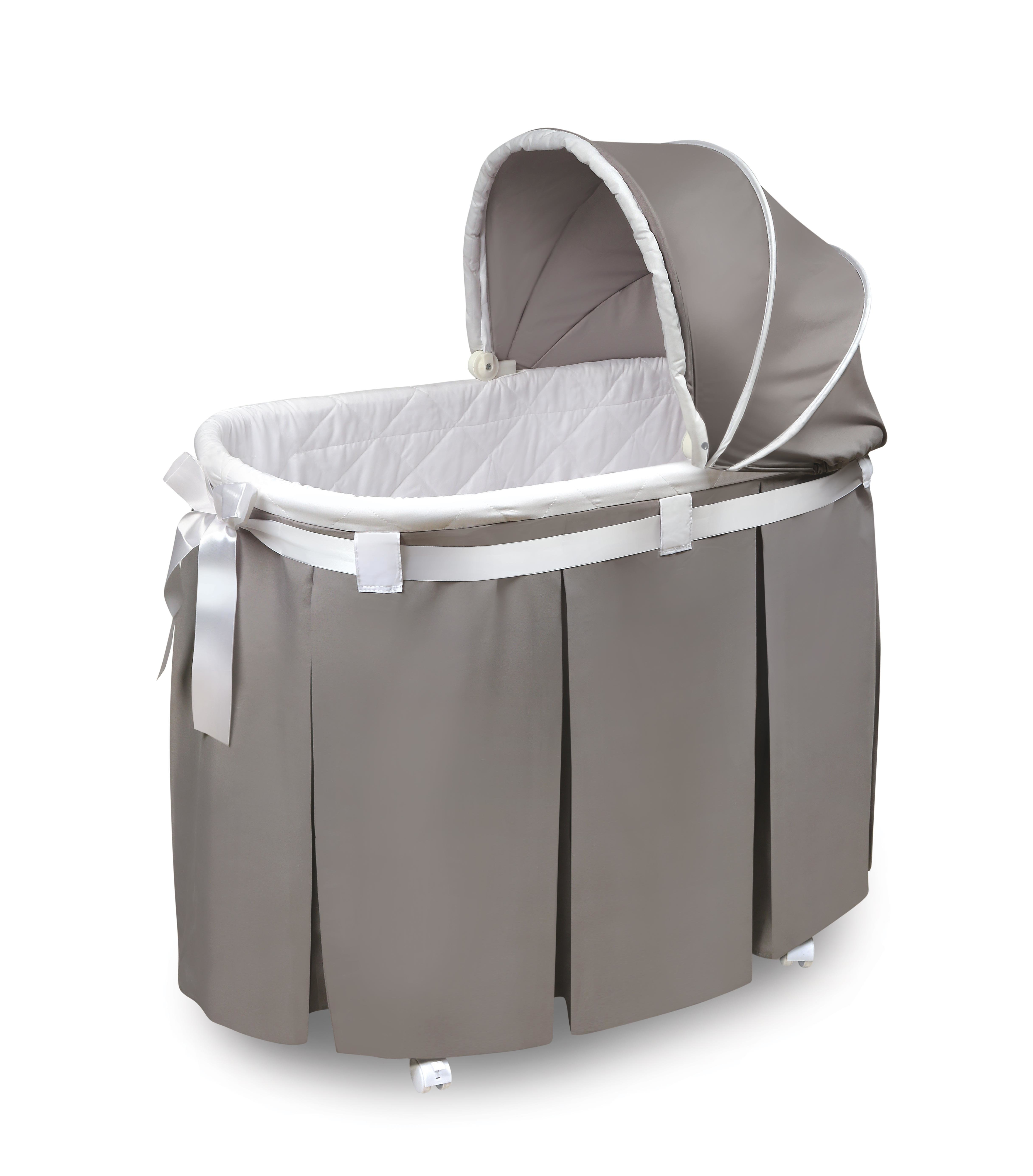 Badger Basket Wishes Oval Bassinet & Reviews | Wayfair With Bailey Mist Track Arm Skirted Swivel Gliders (View 25 of 25)