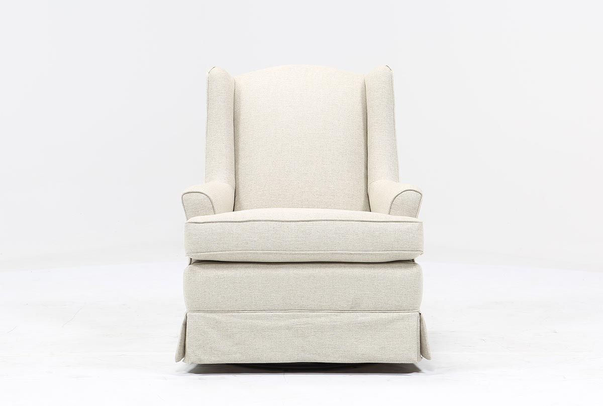 Bailey Flare Arm Wing Skirted Swivel Glider – 360 | Baby Boy Nursery With Regard To Bailey Linen Flare Arm Wing Skirted Swivel Gliders (Image 3 of 25)