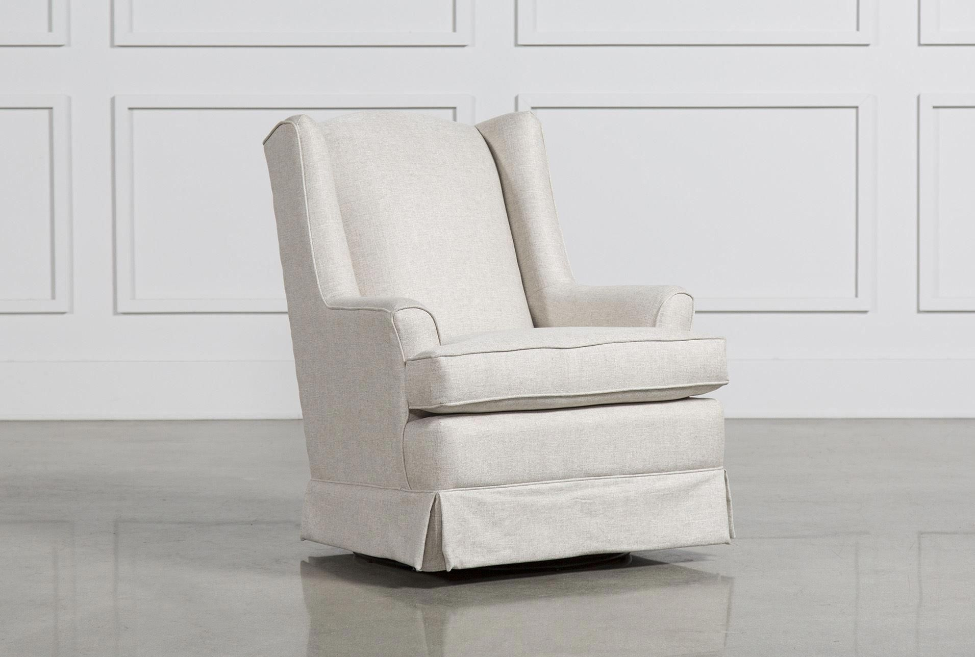Featured Image of Bailey Linen Flare Arm Wing Skirted Swivel Gliders