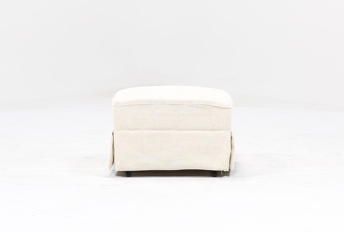Bailey Skirted Glider Ottoman | Living Spaces Throughout Bailey Linen Flare Arm Wing Skirted Swivel Gliders (Image 5 of 25)