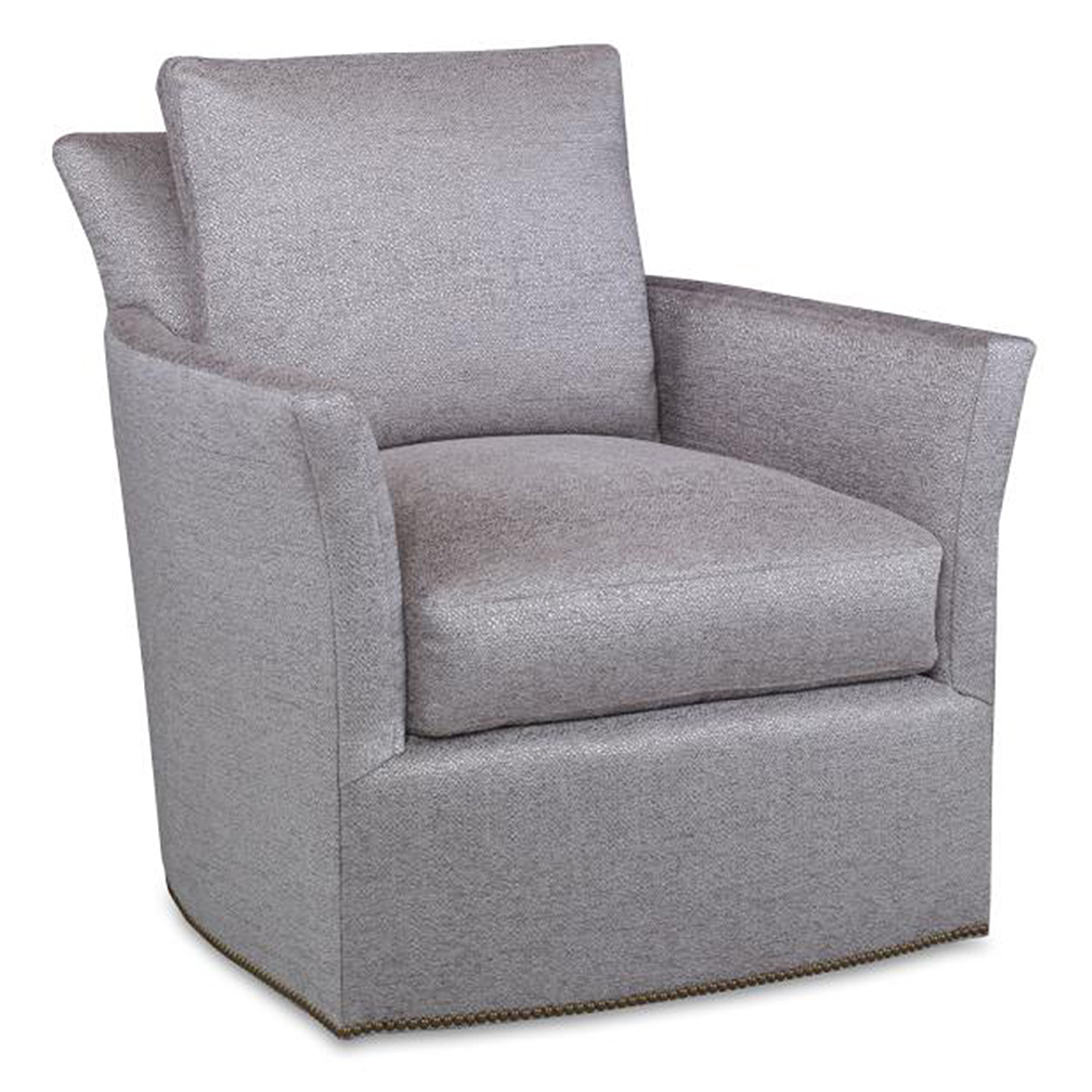 Bailey Swivel Chair – Luxe Home Company Inside Bailey Mist Track Arm Skirted Swivel Gliders (View 4 of 25)