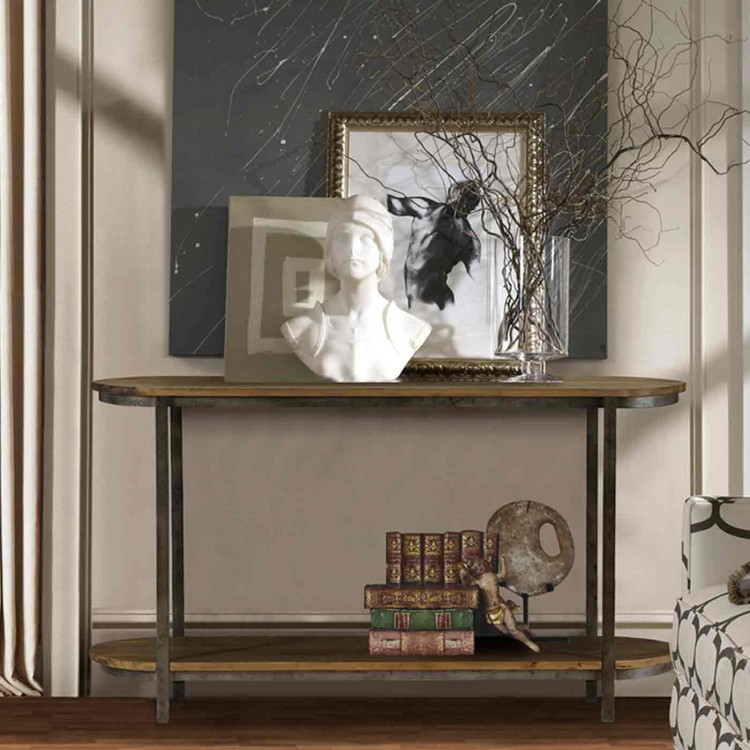 Barstow Pine Top Console Table With Gunmetal Frame – Boulevard Urban For Fashionable Gunmetal Media Console Tables (Image 3 of 25)