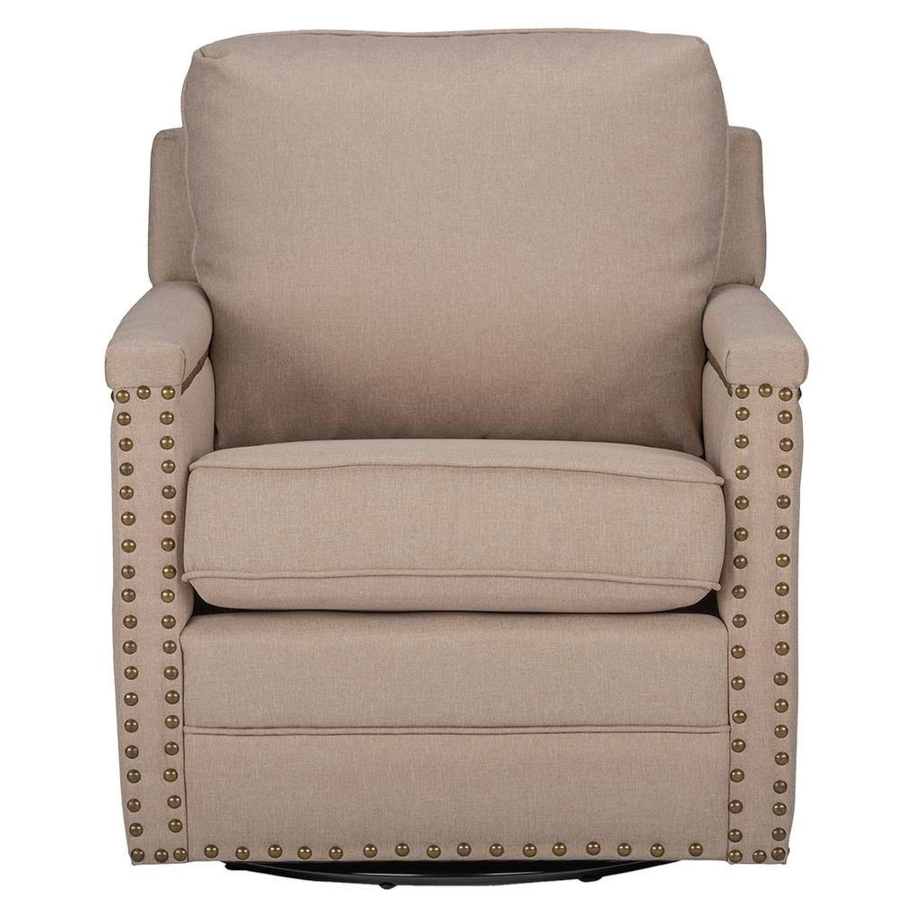 Baxton Studio Ashley Contemporary Beige Fabric Upholstered Accent Inside Decker Ii Fabric Swivel Rocker Recliners (Image 1 of 25)
