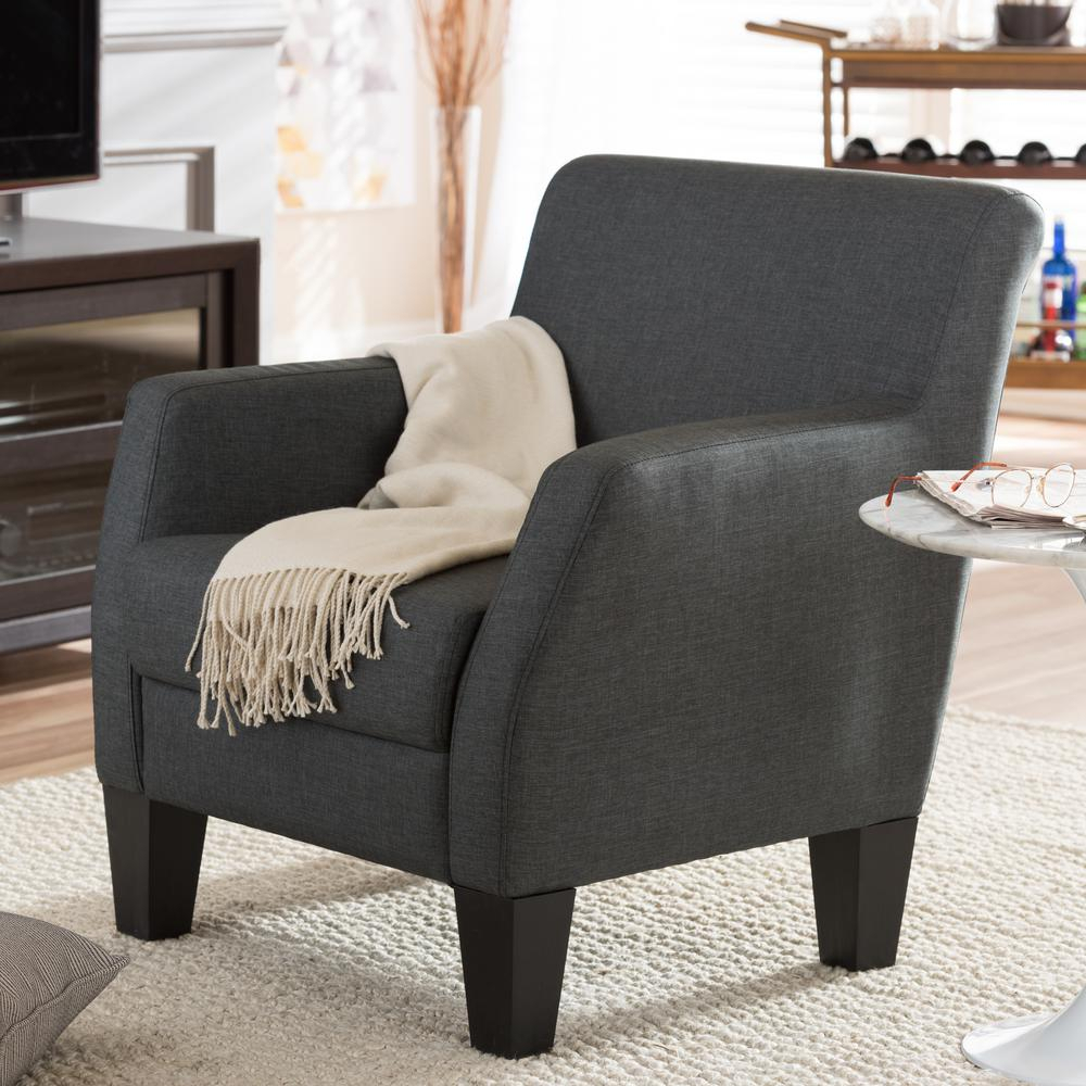 Baxton Studio Baxton Gray Fabric Upholstered Accent Chair 28862 5461 Throughout Decker Ii Fabric Swivel Rocker Recliners (Image 2 of 25)