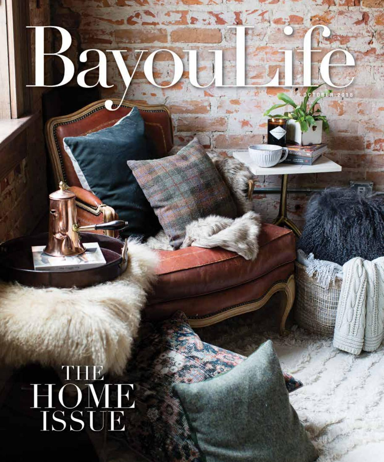 Bayoulife Magazine October 2018Bayoulife Magazine – Issuu Throughout Bailey Linen Flare Arm Wing Skirted Swivel Gliders (View 24 of 25)