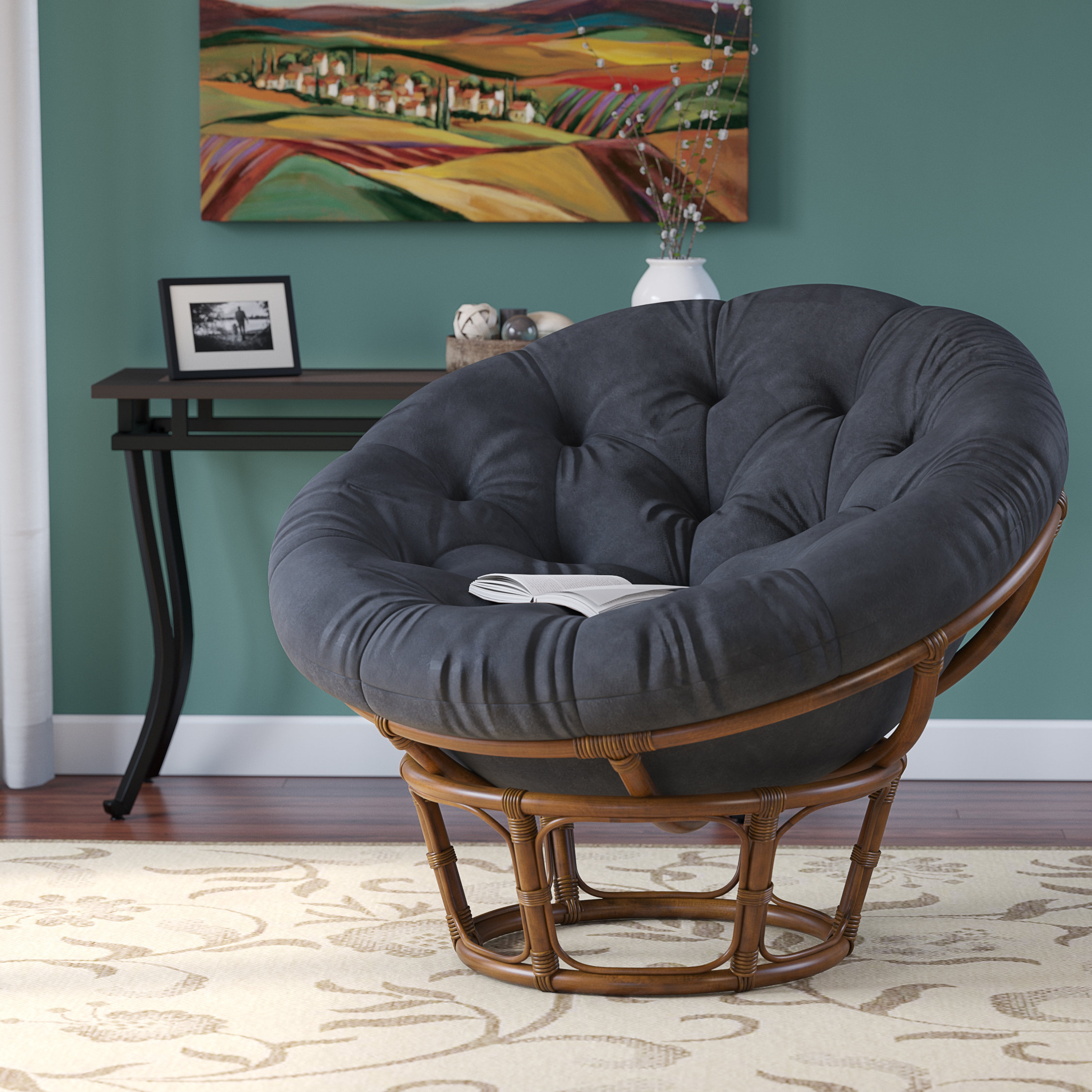 Beachcrest Home Decker Papasan Chair & Reviews | Wayfair With Regard To Decker Ii Fabric Swivel Rocker Recliners (Image 3 of 25)