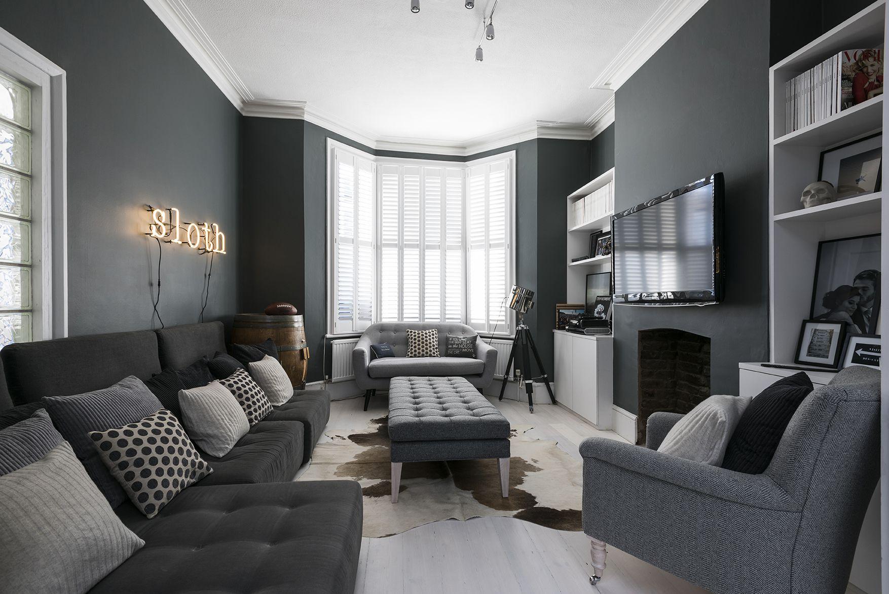 Beautiful Gray Living Room Ideas Regarding London Dark Grey Sofa Chairs (View 5 of 25)