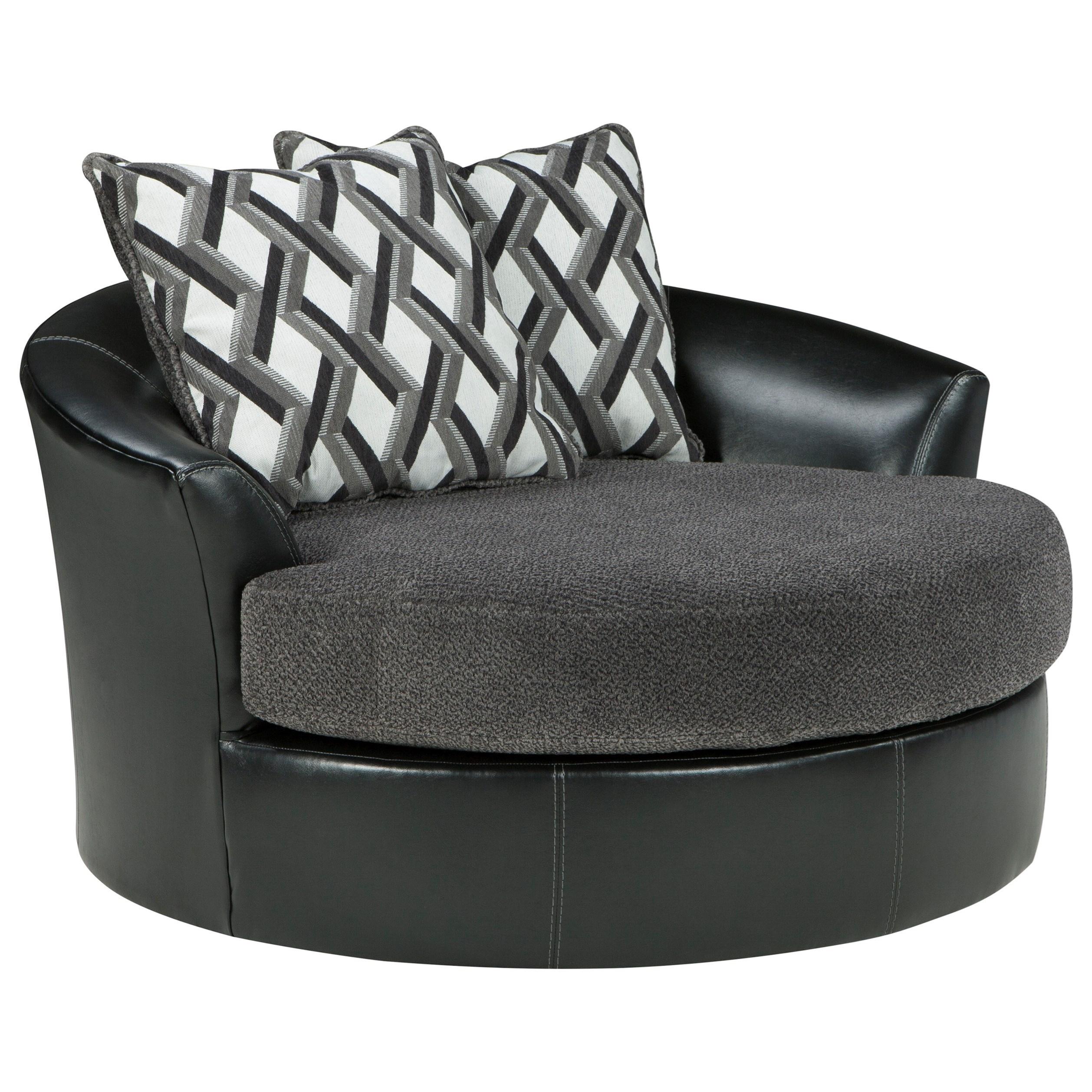 Benchcraft Kumasi 3220221 Contemporary Fabric/faux Leather Oversized For Umber Grey Swivel Accent Chairs (View 13 of 25)
