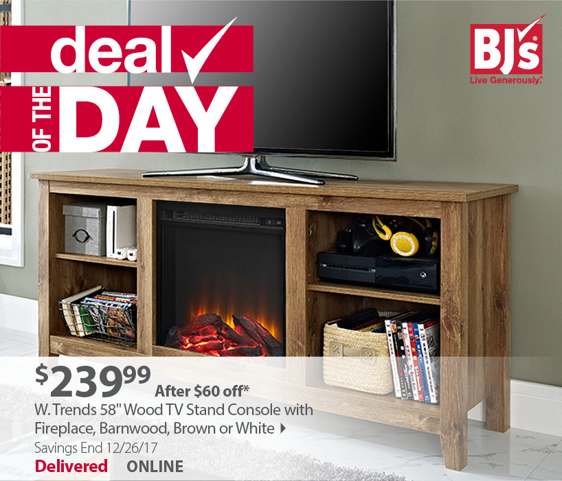 Best And Newest Bjs Tv Stands Intended For Bjs Wholesale Club: Save $60 On A Stylish Fireplace Tv Stand (Image 1 of 25)