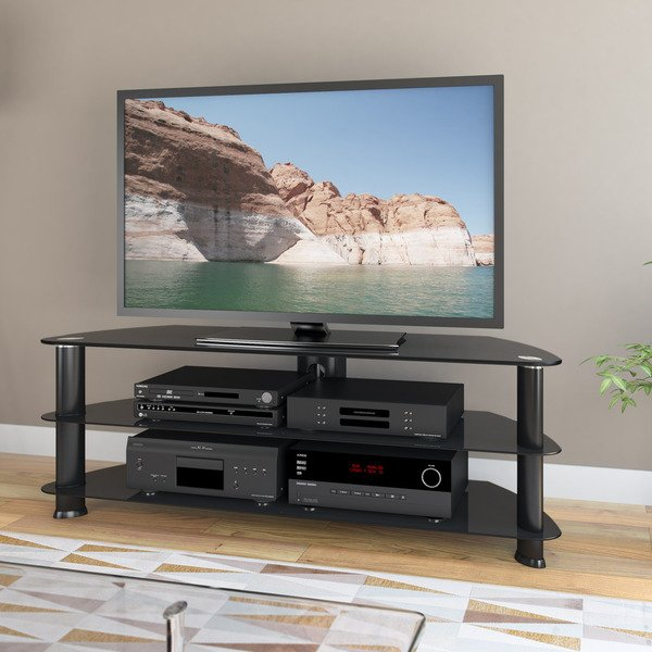 "Best And Newest Black Corner Tv Stands For Tvs Up To 60 With Shop Laguna Corner Satin Black Tv Stand, For Up To 60"" Tvs – Free (View 3 of 25)"