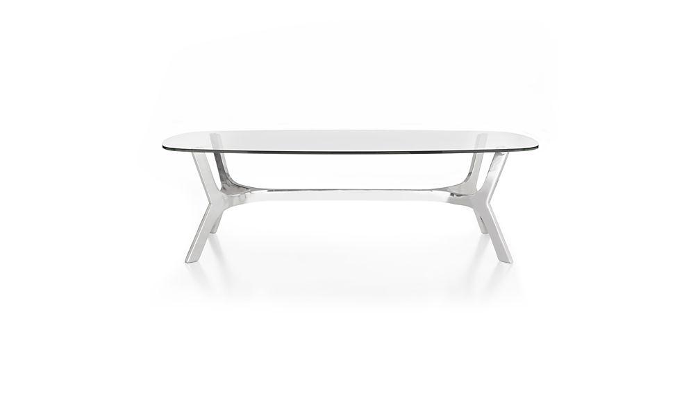 Best And Newest Elke Marble Console Tables With Polished Aluminum Base In Elke Rectangular Glass Coffee Table With Polished Aluminum Base (View 20 of 25)