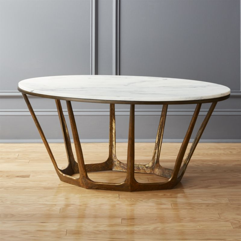 Best And Newest Elke Marble Console Tables With Polished Aluminum Base Within Parker Oval Marble Coffee Table (Image 2 of 25)