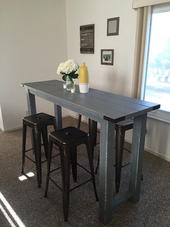 Best And Newest Layered Wood Small Square Console Tables With Rustic Bar Height Tablereimaginedwoodcraft On Etsy (View 23 of 25)