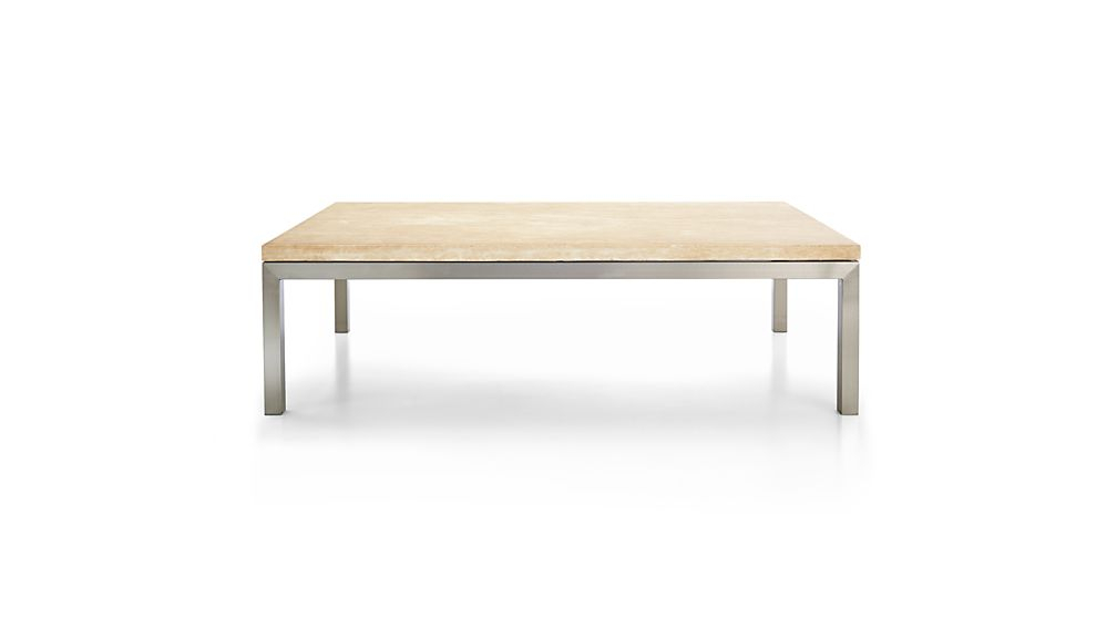 Best And Newest Parsons Travertine Top & Brass Base 48X16 Console Tables In Parsons Travertine Top/ Stainless Steel Base 60X36 Large Rectangular (Image 2 of 25)