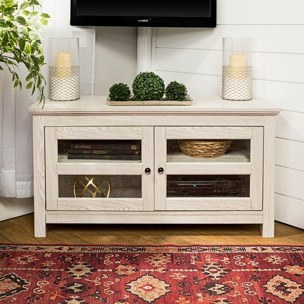"Best And Newest Wooden Corner Tv Stands Regarding Shop 44"" Corner Tv Stand Console – White Wash – 44 X 16 X 23H – Free (View 16 of 25)"