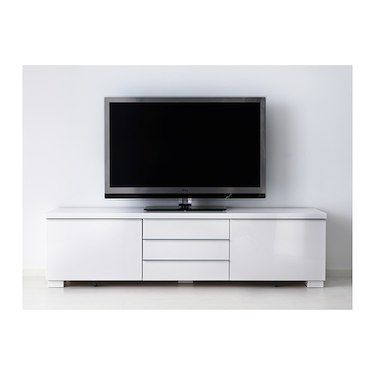 Bestå Burs Tv Bench High Gloss White 180 X 41 X 49 Cm (Image 4 of 25)