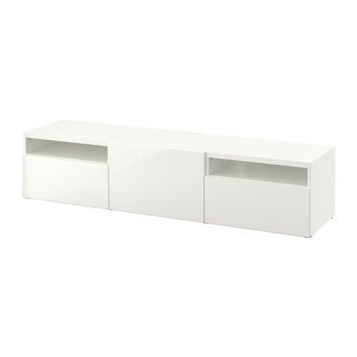 Bestå Tv Bench – White/selsviken High Gloss/white, Drawer Runner Within Well Liked Tv Bench White Gloss (View 24 of 25)