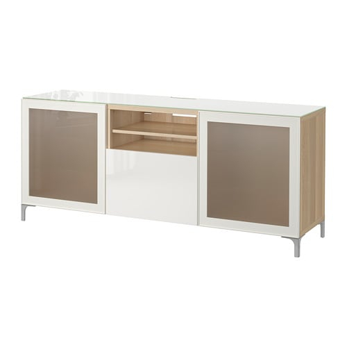 Bestå Tv Bench – White Stained Oak Effect/selsviken High Gloss/white Within Newest Tv Bench White Gloss (View 22 of 25)