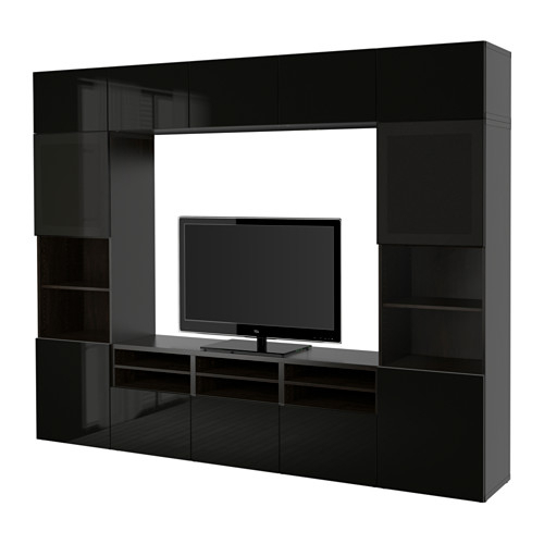 Bestå Tv Storage Combination/glass Doors, Walnut Effect Light Gray For Current Tv Cabinets With Glass Doors (Image 2 of 25)