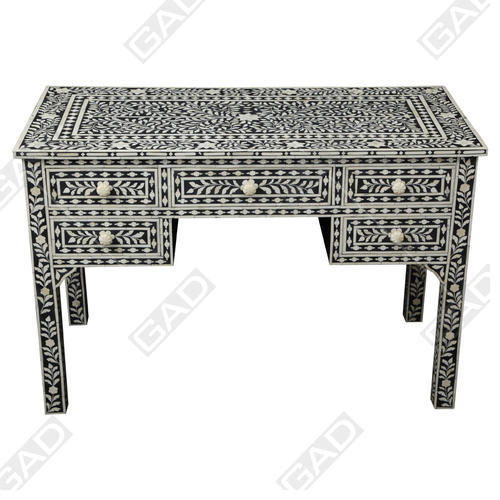 Black And Ivory Gad Ethereal Bone Inlay Console Table, Rs 74283 In Trendy Black And White Inlay Console Tables (Image 4 of 25)