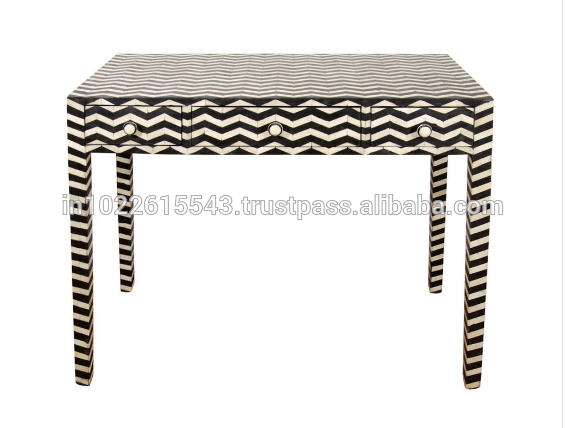 Black And White Bone Inlay 3 Drawers Console Table,bone Inlay Stripe Throughout Most Current Black And White Inlay Console Tables (Image 5 of 25)