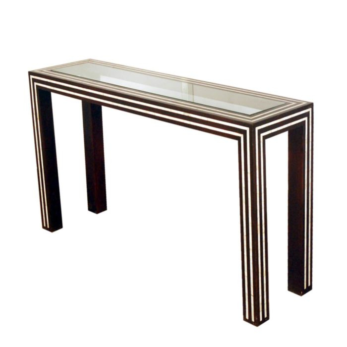 Black And White Pearl Inlay Console: Glass And Inlay Console Table In Most Up To Date Black And White Inlay Console Tables (Image 9 of 25)