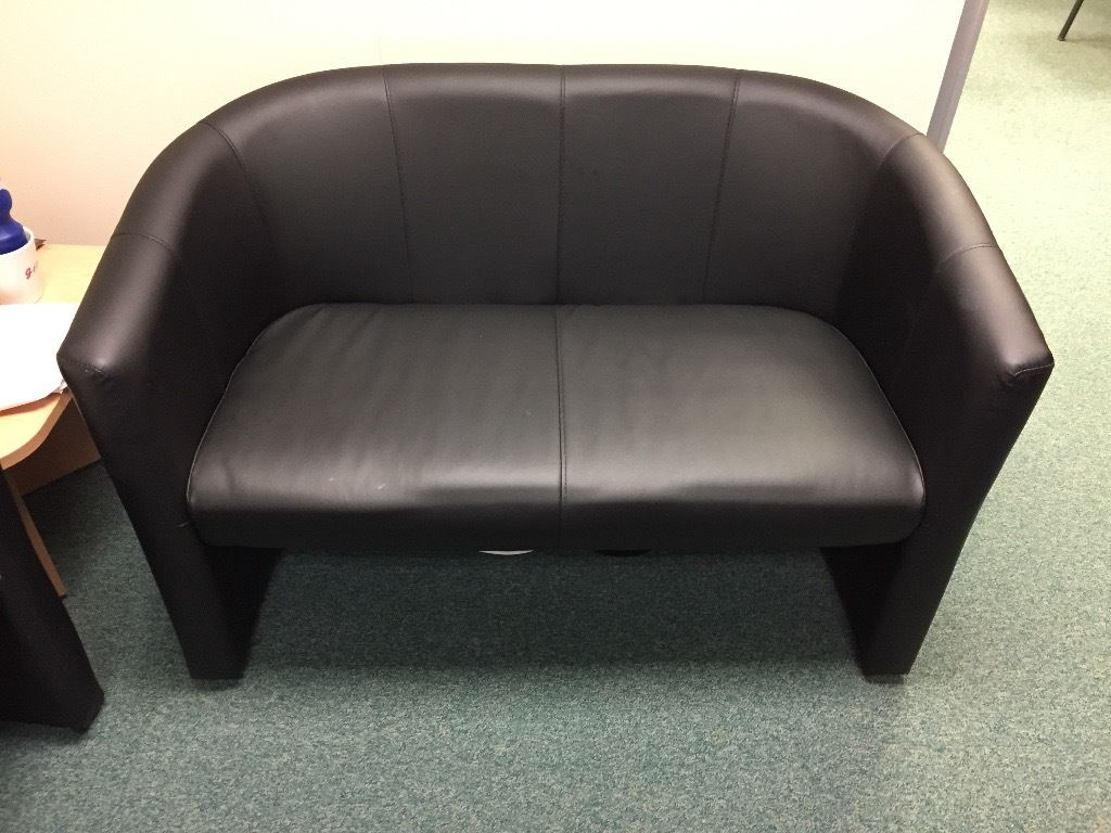 Black Faux Leather Office Sofa Set Rrp £300+ (London Twin Faux Intended For London Optical Sofa Chairs (View 7 of 25)