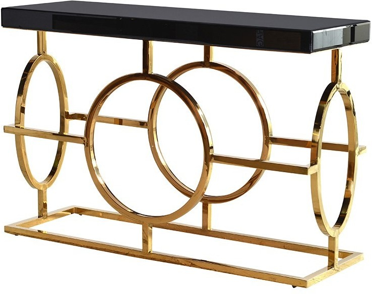 Black Glass Topped Console Table With Gold Coloured Steel Frame With Most Current Frame Console Tables (Image 5 of 25)