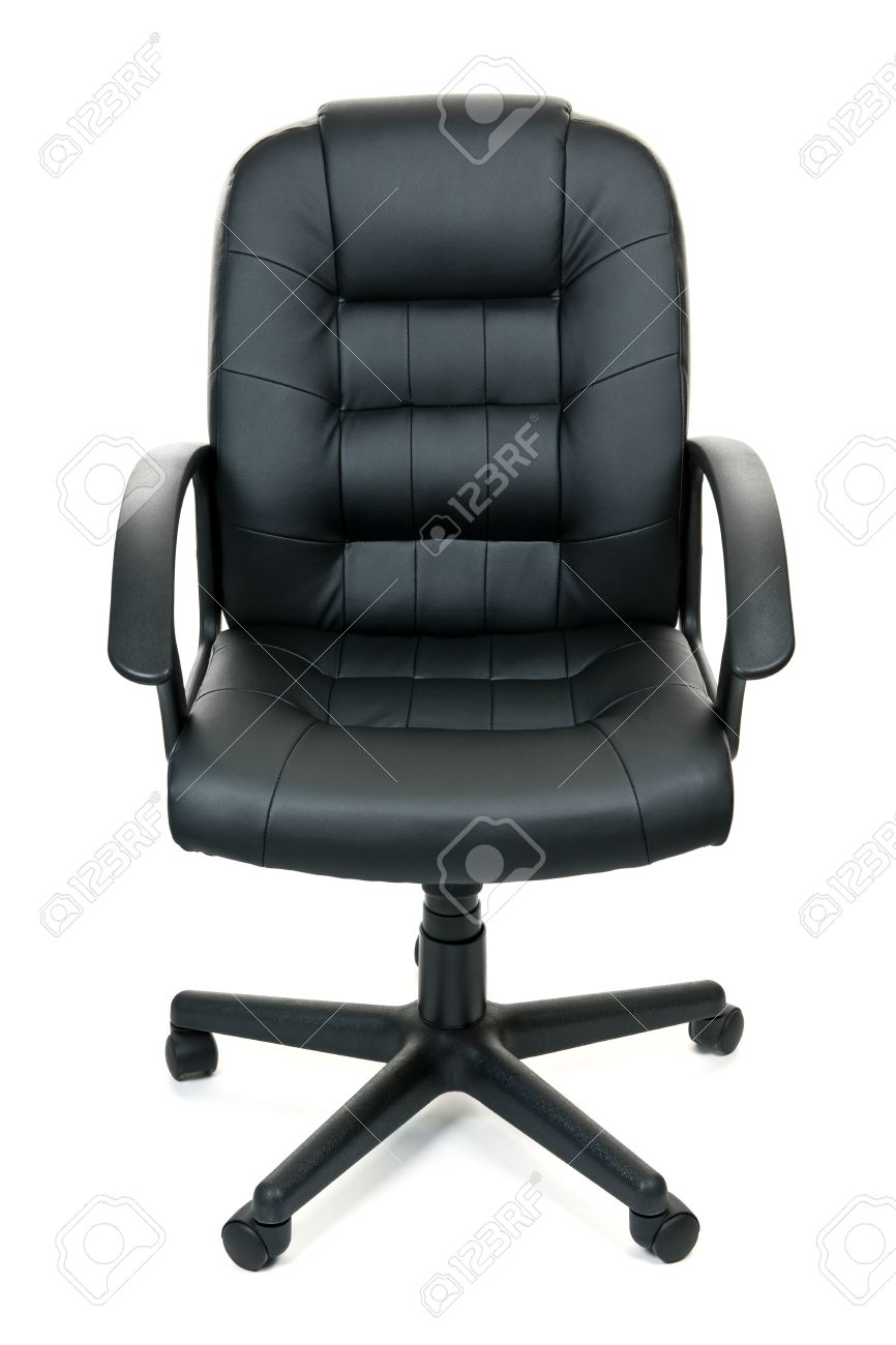 Black Leather Managers Office Swivel Chair Isolated On White. (View 19 of 25)