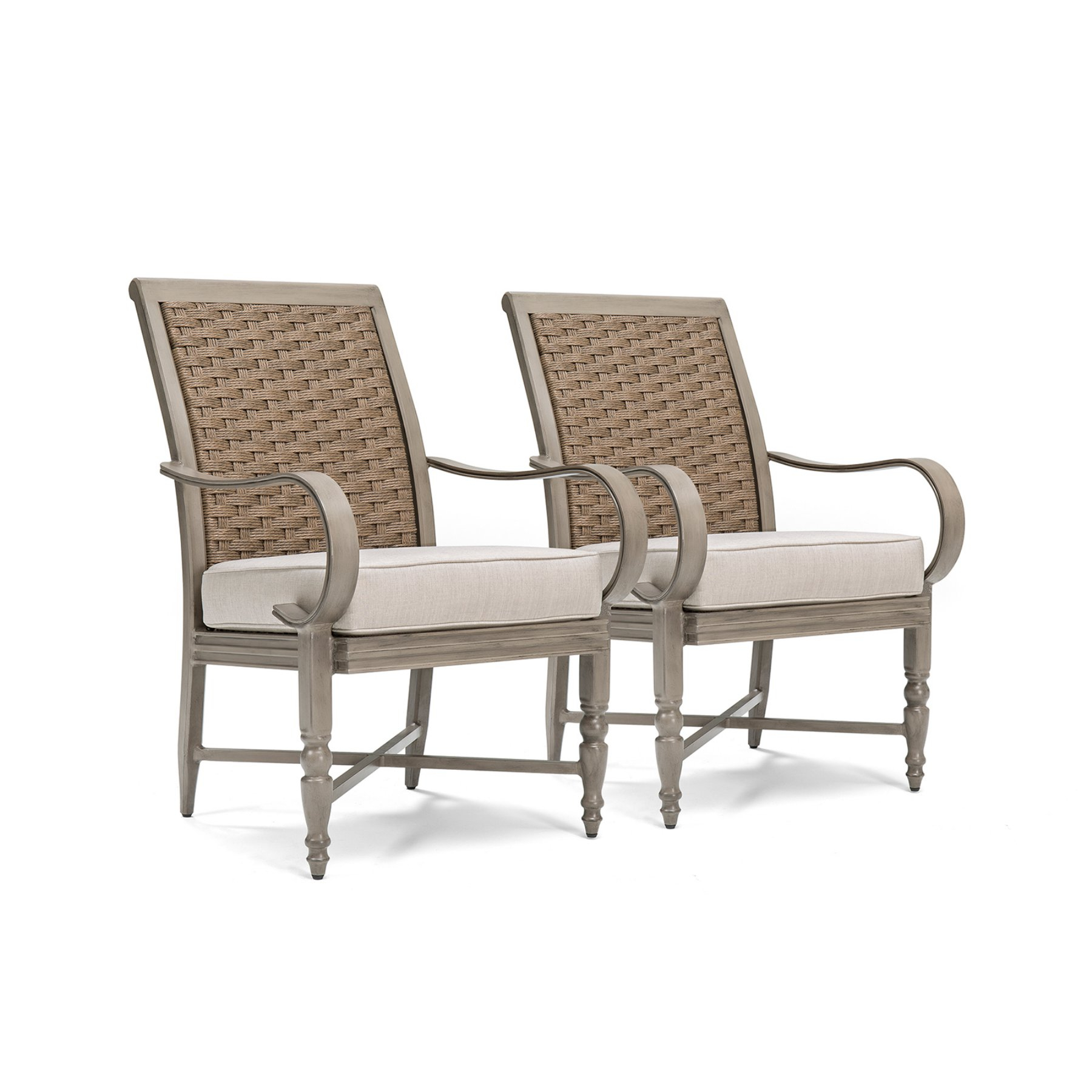 Blue Oak Saylor Wicker Outdoor Dining Arm Chair With Outdura Remy Throughout Ames Arm Sofa Chairs (View 3 of 25)