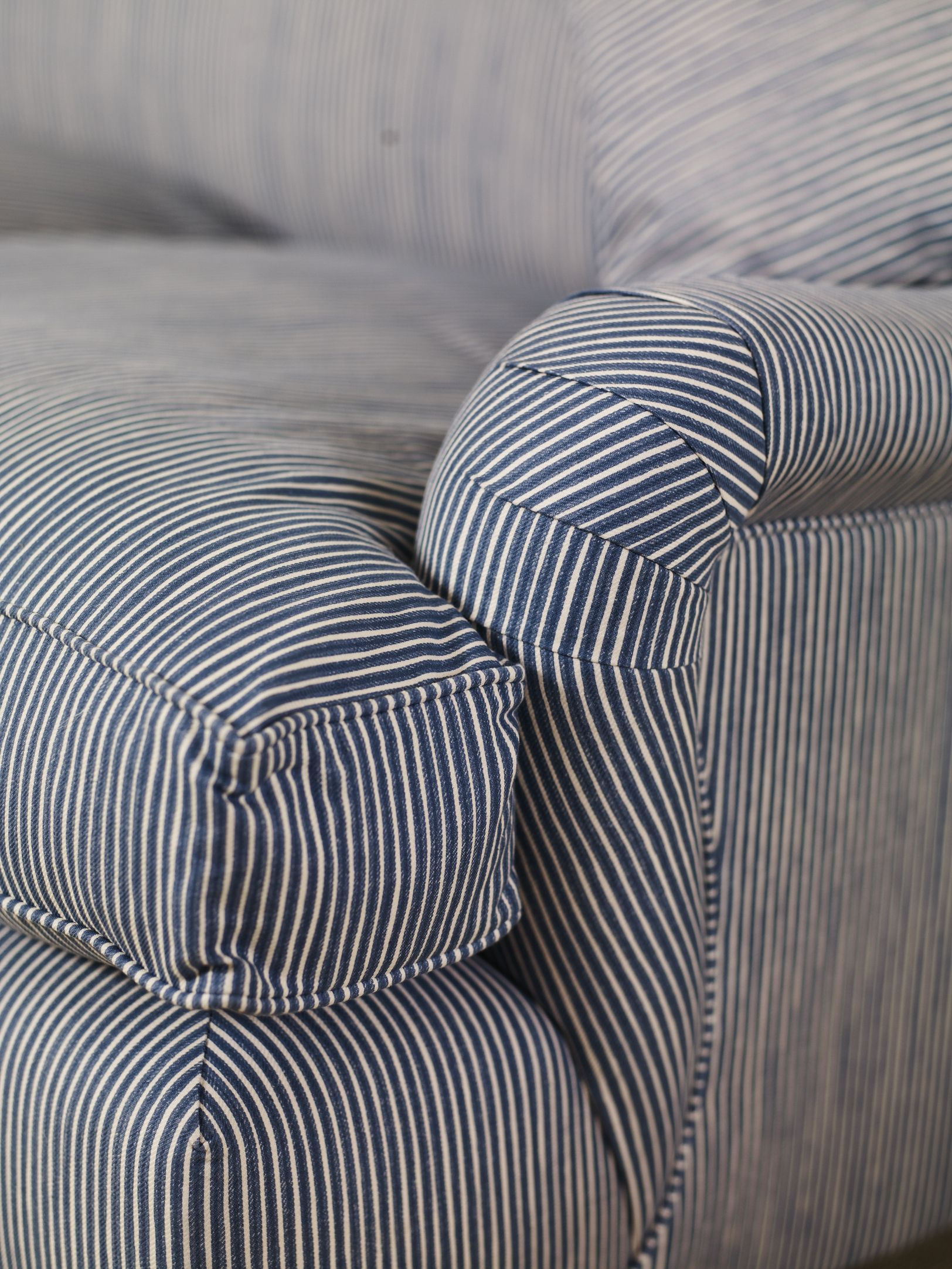 Blue Stripe Roll Arm … | Our New English Cottage | Pinterest Inside Bailey Roll Arm Skirted Swivel Gliders (Image 11 of 25)