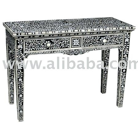 Bone Inlay Console Table Butler Black Bone Inlay Console Table Black Pertaining To Popular Black And White Inlay Console Tables (View 20 of 25)